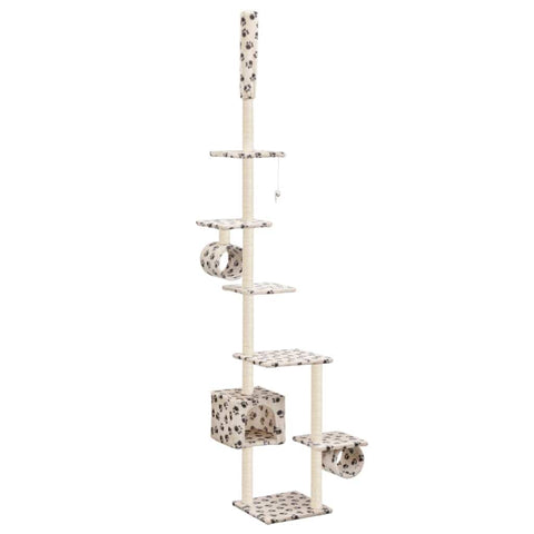 Image of Cat Tree with Sisal Scratching Posts 260 cm Beige with Paw Prints Everyday Pets