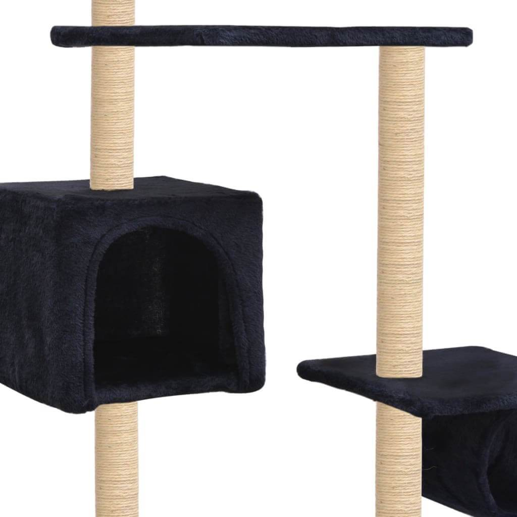 Cat Tree with Sisal Scratching Posts 260 cm Dark Blue Cosy House for Naps Everyday Pets