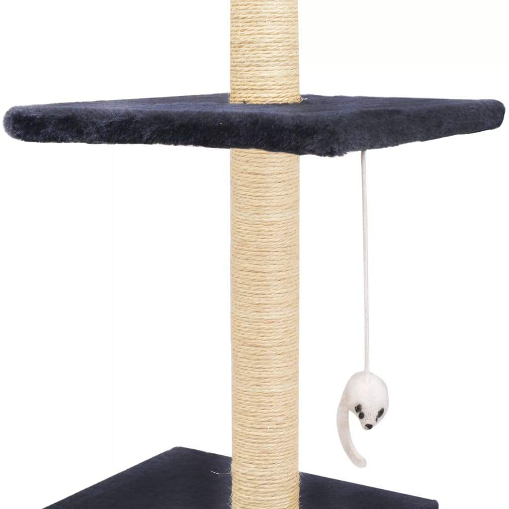 Cat Tree with Sisal Scratching Posts 260 cm Dark Blue Dangling Toy for Playtime Everyday Pets