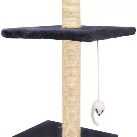 Image of Cat Tree with Sisal Scratching Posts 260 cm Dark Blue Dangling Toy for Playtime Everyday Pets