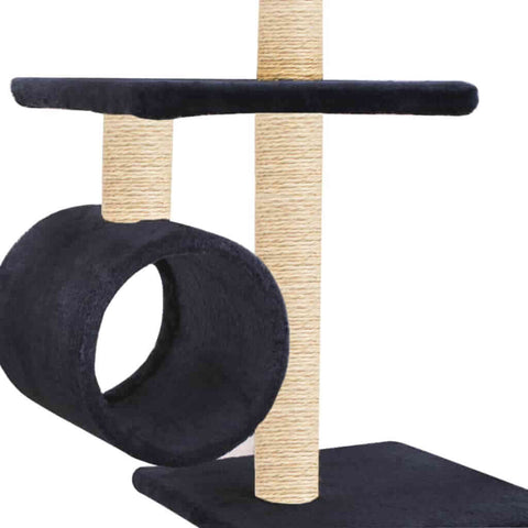 Image of Cat Tree with Sisal Scratching Posts 260 cm Dark Blue Tunnels to Hide and Play Everyday Pets