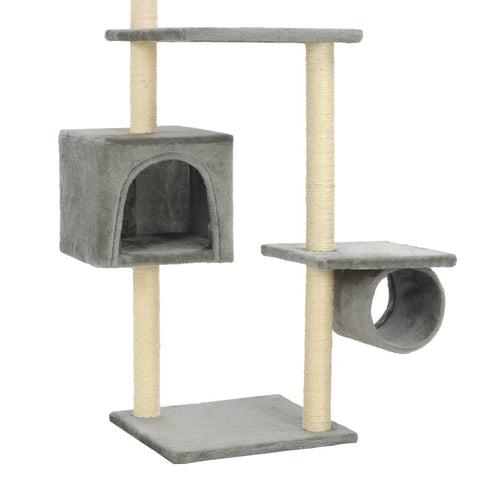 Image of Cat_Tree_with_Sisal_Scratching_Posts_260_cm_Dark_Blue_Cosy_House Cat Tree with Sisal Scratching Posts 260 cm Grey Cosy House for Naps Everyday Pets
