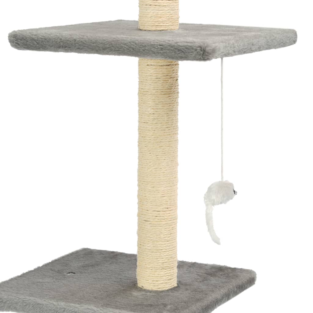 Cat Tree with Sisal Scratching Posts 260 cm Grey Dangling Toy for Playtime Everyday Pets