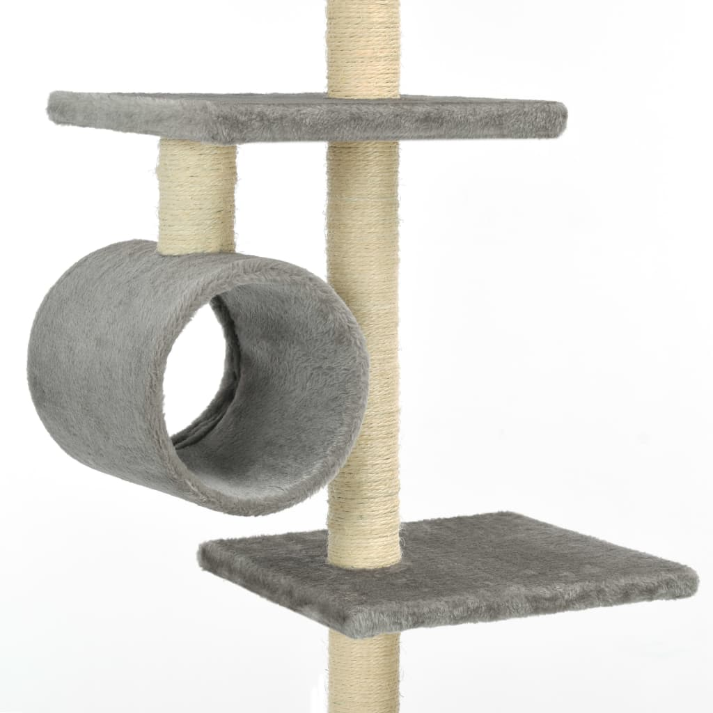 Cat Tree with Sisal Scratching Posts 260 cm Grey Tunnels to Hide and Play Everyday Pets