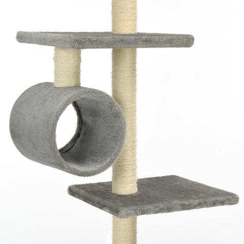 Image of Cat Tree with Sisal Scratching Posts 260 cm Grey Tunnels to Hide and Play Everyday Pets