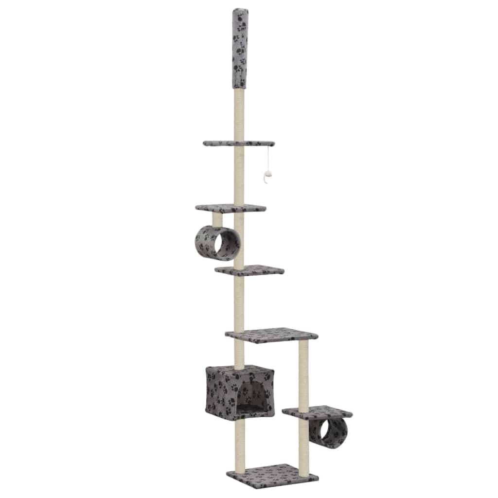 Cat Tree with Sisal Scratching Posts 260 cm Grey with Paw Prints Everyday Pets
