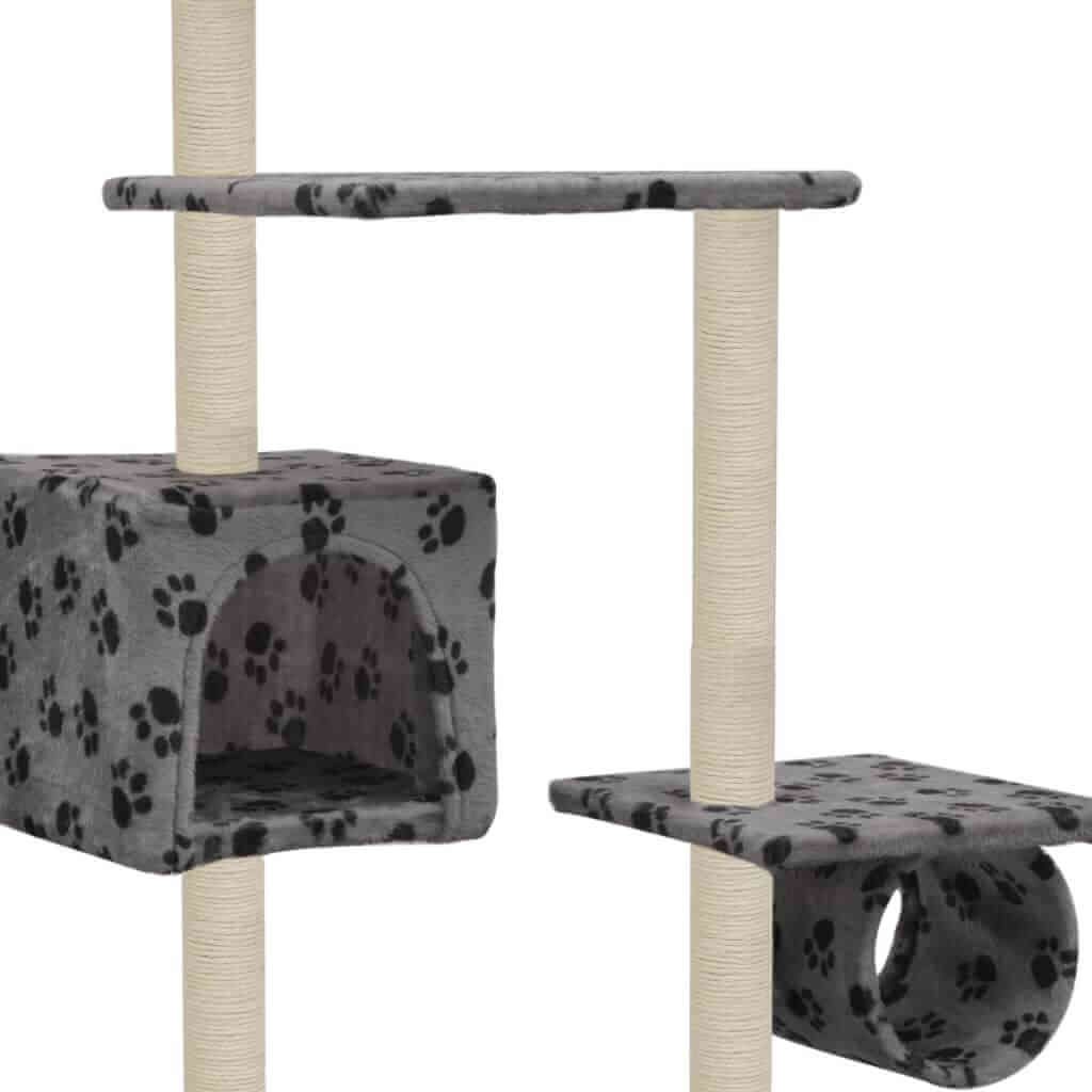 Cat Tree with Sisal Scratching Posts 260 cm Grey with Paw Prints Cosy House for Naps Everyday Pets