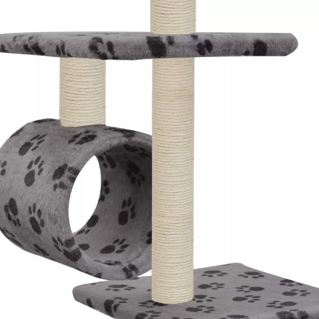 Cat Tree with Sisal Scratching Posts 260 cm Grey with Paw Prints Tunnels to Hide and Play Everyday Pets