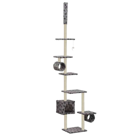 Image of Cat Tree with Sisal Scratching Posts 260 cm Grey with Paw Prints Everyday Pets