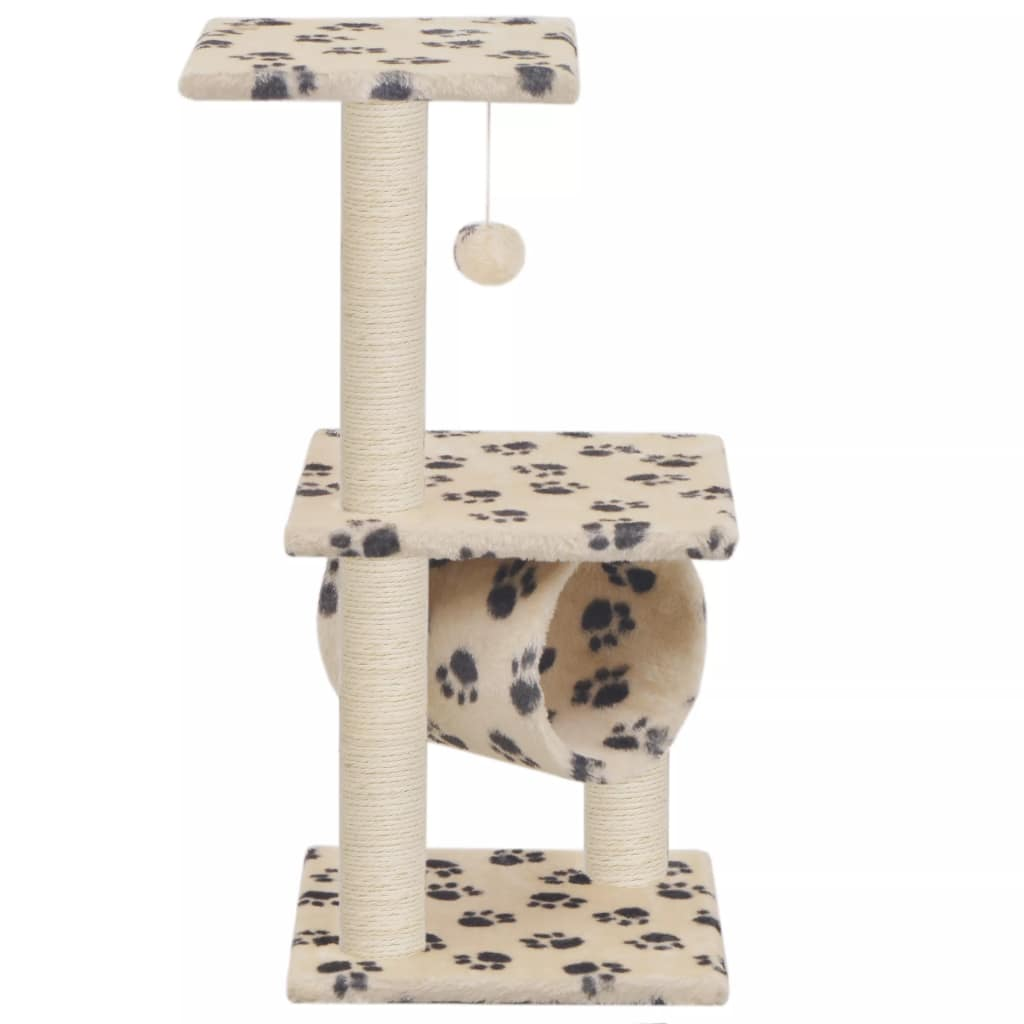 Cat Tree with Sisal Scratching Posts 65 cm Beige Paw Print Everyday Pets
