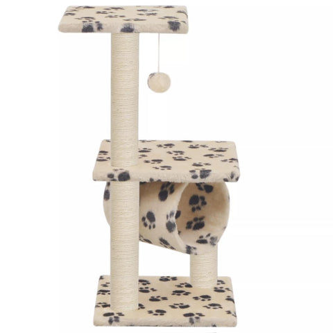 Image of Cat Tree with Sisal Scratching Posts 65 cm Beige Paw Print Everyday Pets