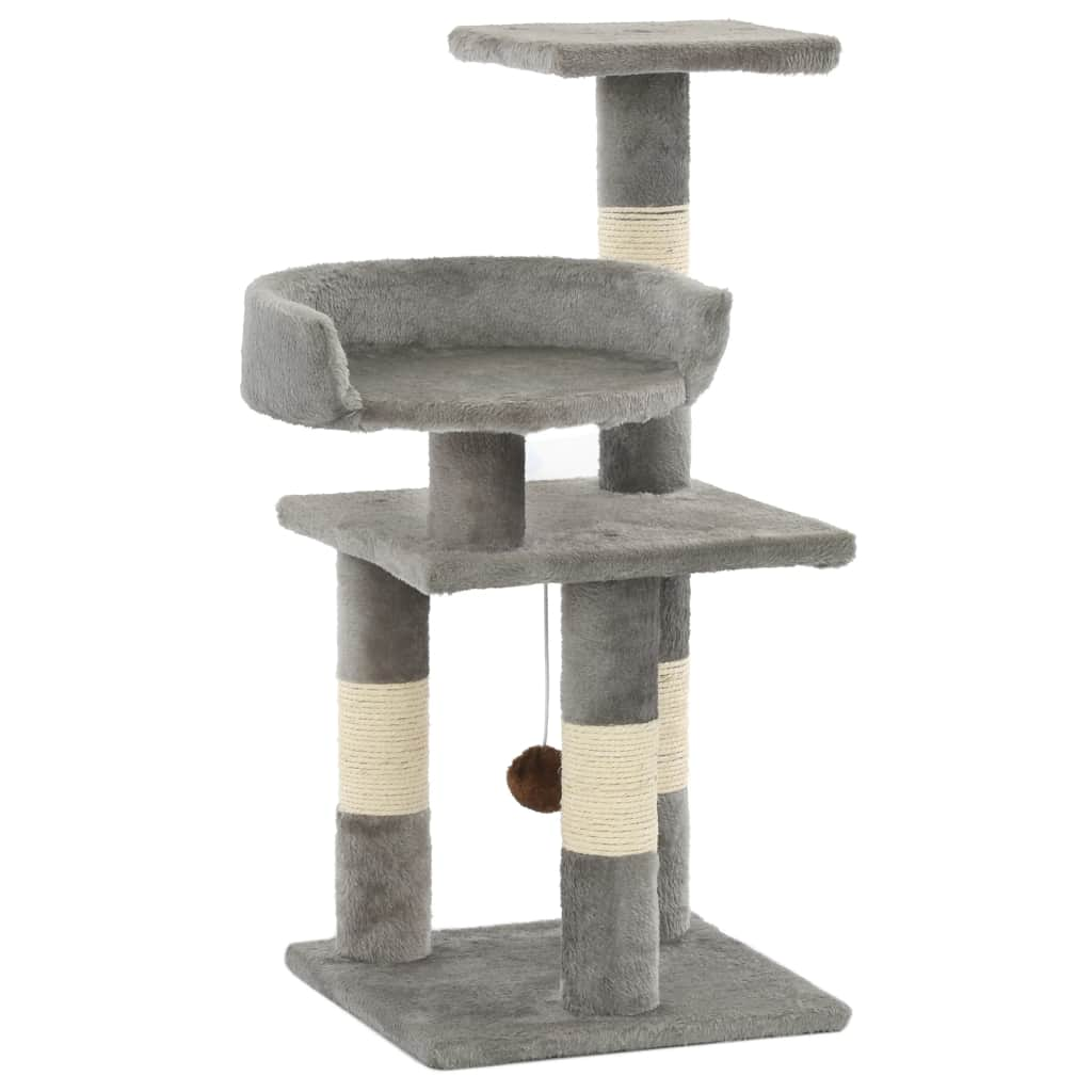 Cat Tree with Sisal Scratching Posts 65 cm Grey Everyday Pets