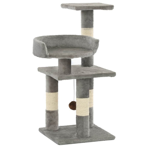 Image of Cat Tree with Sisal Scratching Posts 65 cm Grey Everyday Pets