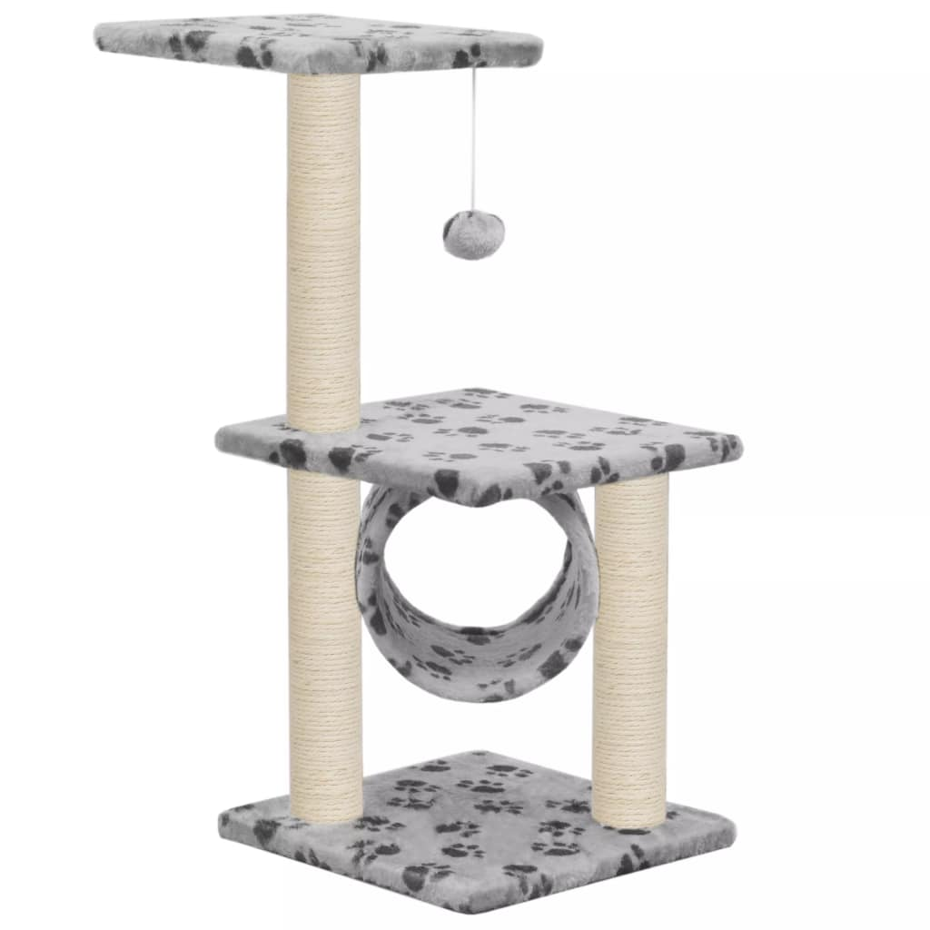 Cat Tree with Sisal Scratching Posts 65 cm Grey Paw Print Everyday Pets