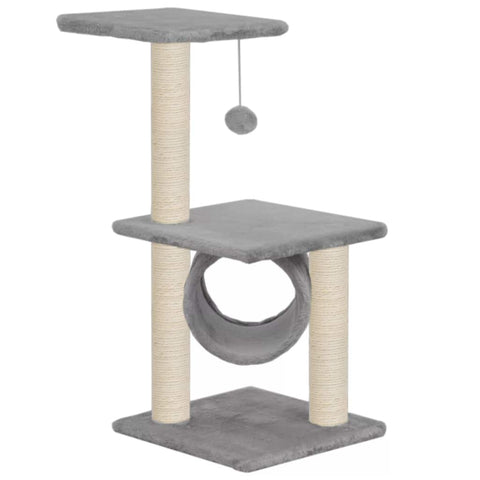 Image of Cat Tree with Sisal Scratching Posts 65 cm Grey Paw Print Everyday Pets
