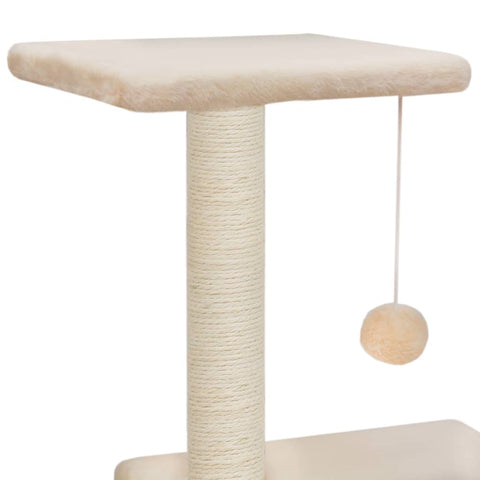 Image of Cat Tree with Sisal Scratching Posts 65 cm Sisal Rope Post with Hanging Ball Toy
