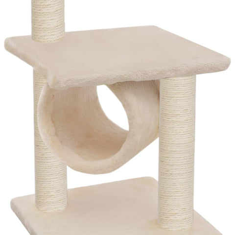 Image of Cat Tree with Sisal Scratching Posts 65 cm Soft Plush Cover Cat Tunnel