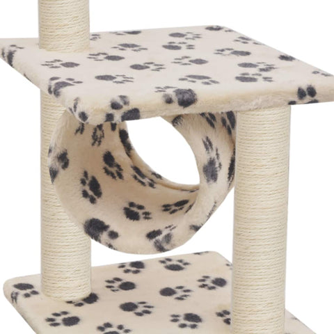 Image of Cat Tree with Sisal Scratching Posts 65 cm Soft Plush Cover Cat Tunnel Everyday Pets