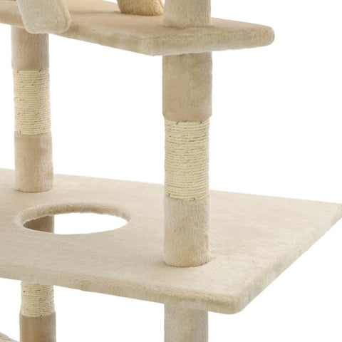Image of Cat Tree with Sisal Scratching Posts Beige Platform Everyday Pets