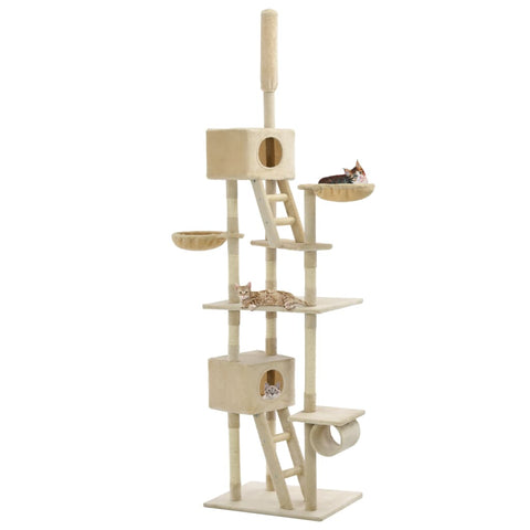 Image of Cat Tree with Sisal Scratching Posts Beige Playhouse Everyday Pets
