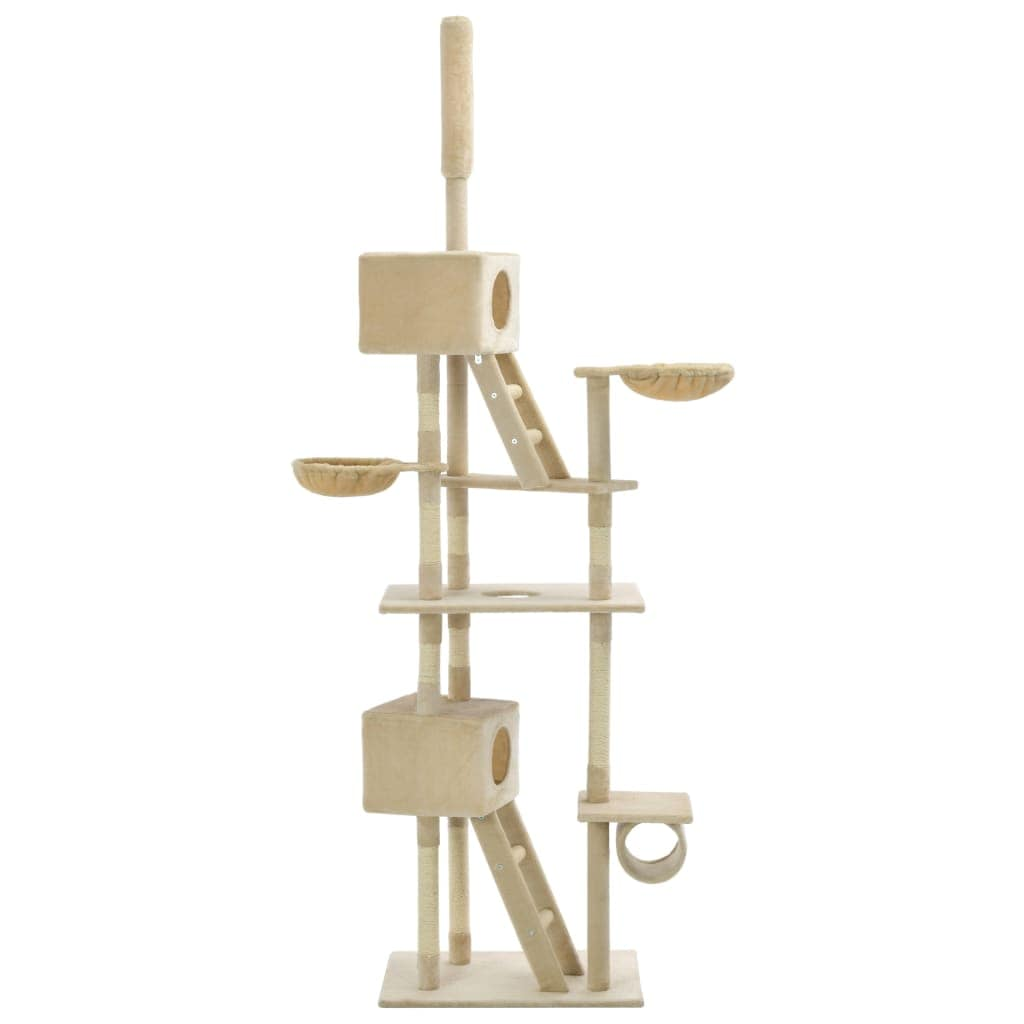 Cat Tree with Sisal Scratching Posts Beige Plush Fabric Everyday Pets