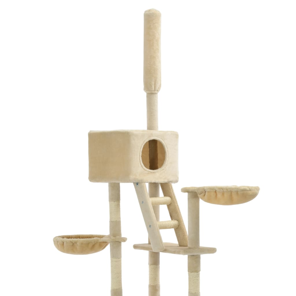Cat Tree with Sisal Scratching Posts Beige Solid Frame Everyday Pets