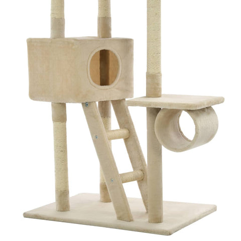Image of Cat Tree with Sisal Scratching Posts Beige with Tunnel Everyday Pets