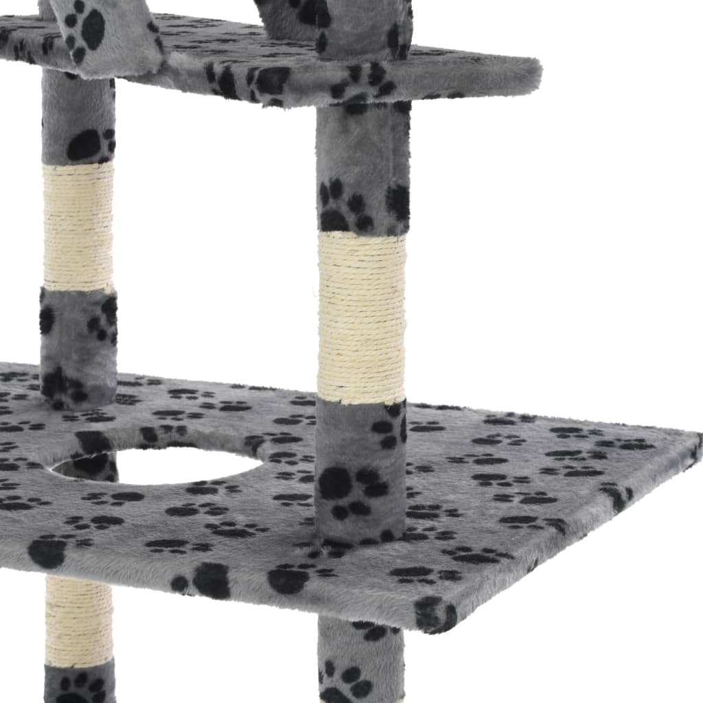 Cat Tree with Sisal Scratching Posts Grey Paw Prints Platform Everyday Pets