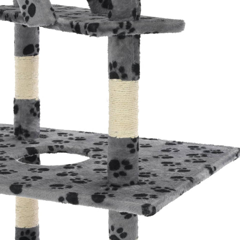 Image of Cat Tree with Sisal Scratching Posts Grey Paw Prints Platform Everyday Pets