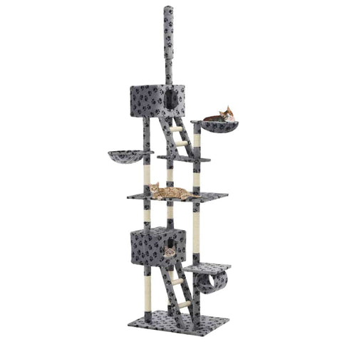 Image of Cat Tree with Sisal Scratching Posts Grey Paw Prints Playhouse Everyday Pets