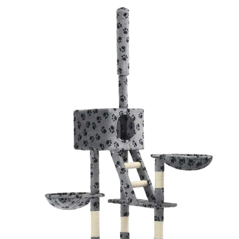 Image of Cat Tree with Sisal Scratching Posts Grey Paw Prints Plush Fabric Everyday Pets
