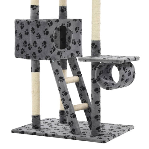 Image of Cat Tree with Sisal Scratching Posts Grey Paw Prints with Tunnel Everyday Pets