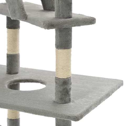 Image of Cat Tree with Sisal Scratching Posts Grey Platform Everyday Pets