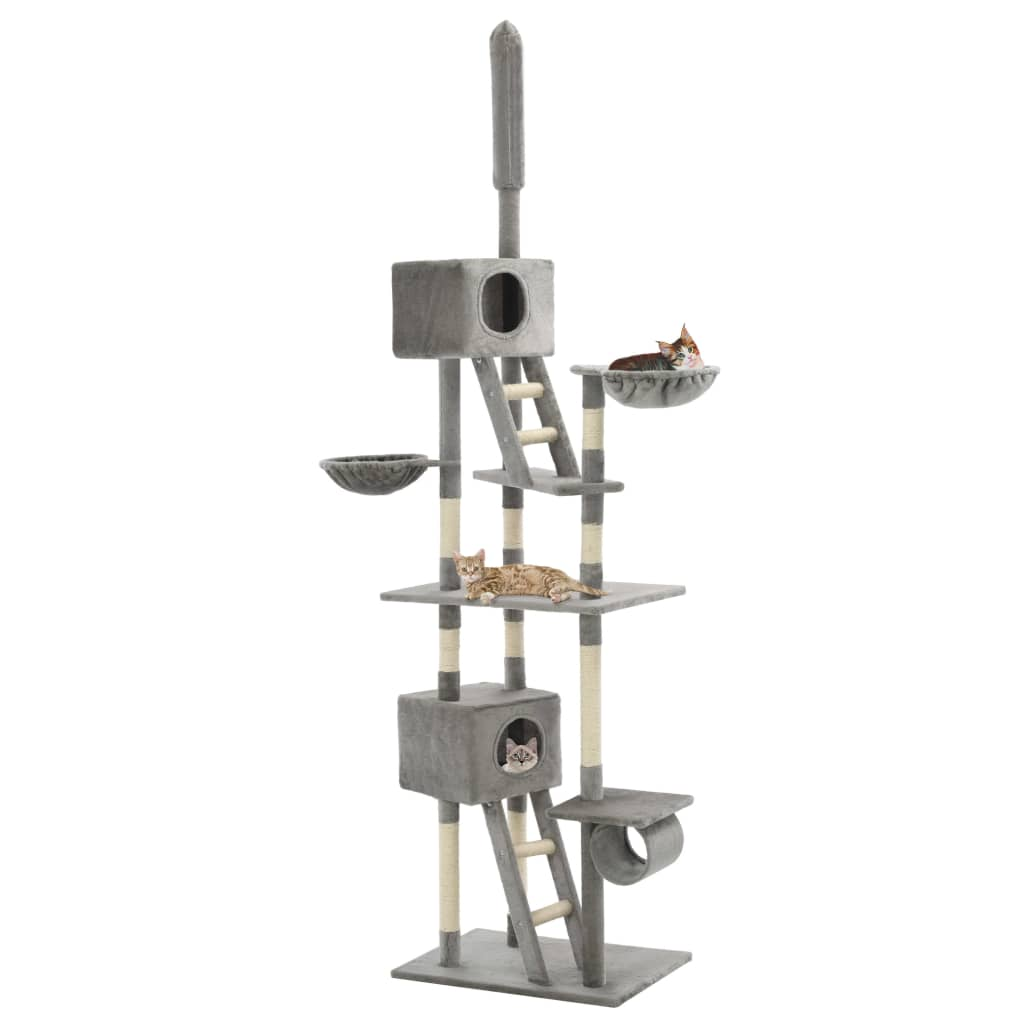 Cat Tree with Sisal Scratching Posts Grey Playhouse Everyday Pets