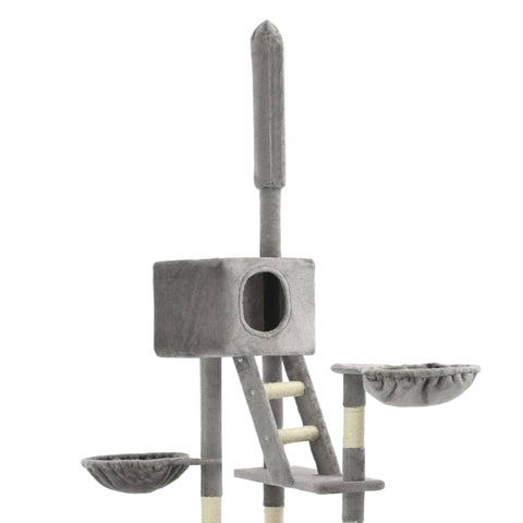 Image of Cat Tree with Sisal Scratching Posts Grey Plush Fabric Everyday Pets