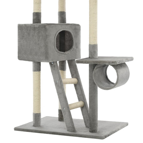 Image of Cat Tree with Sisal Scratching Posts Grey with Tunnel