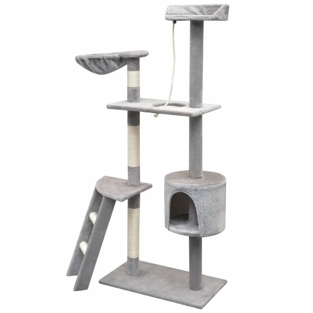 Cat Tree with Sisal Scratching Posts Polyester Wooden Frame Everyday Pets