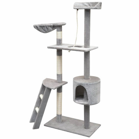 Image of Cat Tree with Sisal Scratching Posts Polyester Wooden Frame Everyday Pets
