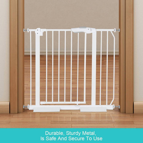 Image of Child Pet Safety Gates Adjustable Baby Gate With A 10Cm Extension Barrier 77Cm Height 75~95Cm Width - White