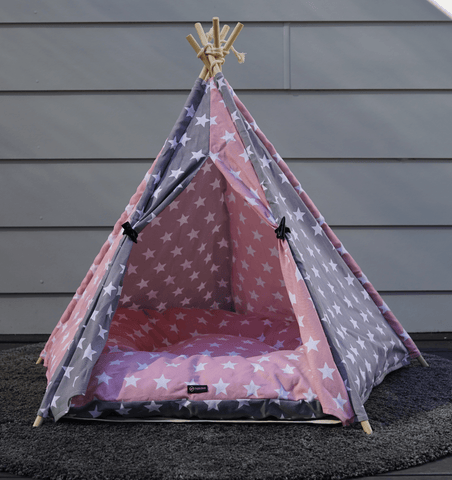Image of Pink & Grey Starry Teepee Dog Tent