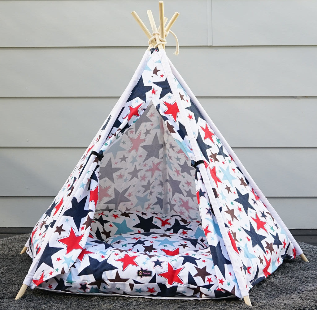 Beautiful Starry Dog Bed Teepee Cotton Canvas Pet Bed Dog Tent