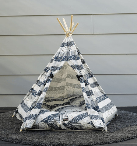 Image of Beautiful Sailor Dog Bed Teepee Cotton Canvas Pet Bed Dog Tent