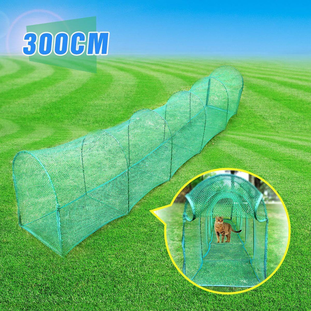Deluxe Outdoor Foldable Cat Walk & Run Tunnel Enclosed with 2 Doors Everyday Pets