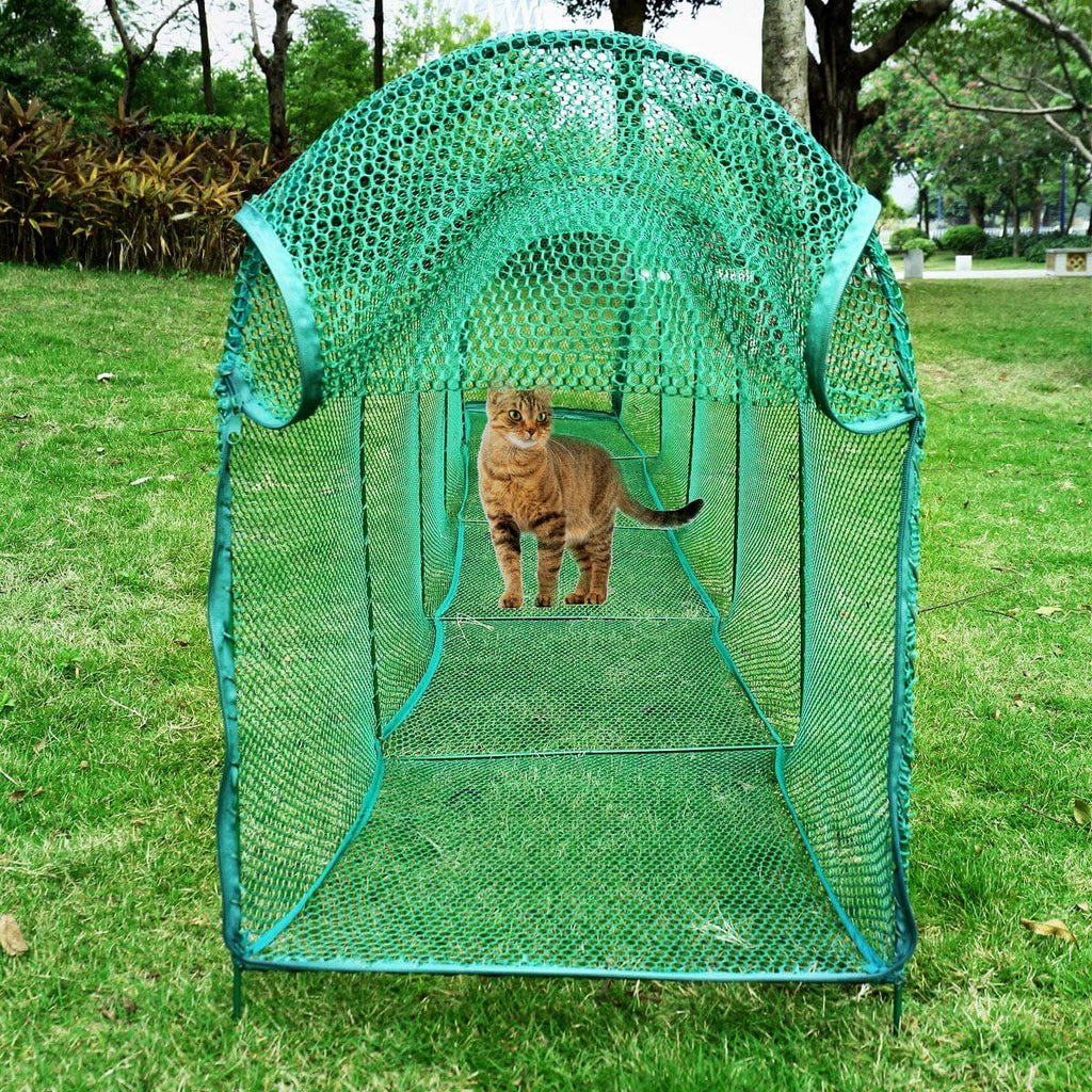 Deluxe Outdoor Foldable Cat Walk & Run Tunnel MAximum Visibility and Ventilation Everyday Pets