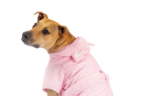 Image of Big-Little-Dogs-Dog-Bath-Robe-Pretty-In-Pink-Kiba-1