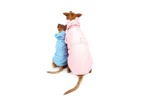 Image of Big-Little-Dogs-Dog-Bath-Robe-Pretty-In-Pink-and-Baby-Blues-Kiba-and-Moochi-3_Back_View