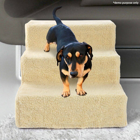 Image of Dog Steps Deluxe With Two Washable Covers 3 Steps Indoor
