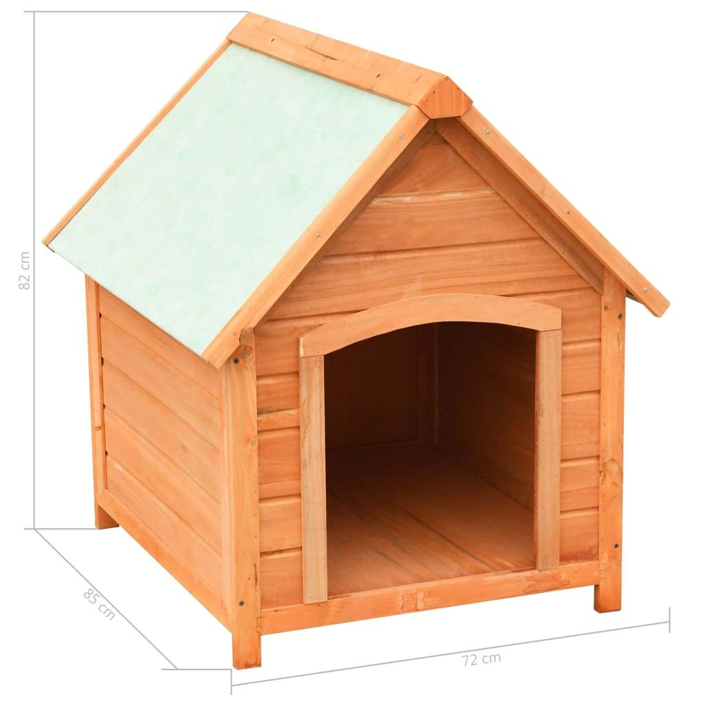 Dog House Solid Pine & Fir Wood 72x85x82 cm Product Dimension Everyday Pets
