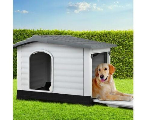 Image of Dog Kennel Waterproof Heavy Duty Grey - 98 x 68.5 x 68cm