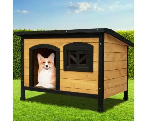 Dog Kennel w Waterproof Black Asphalt Pitch Roof Pet Dog House Large